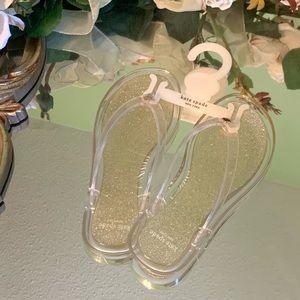 Kate Spade Gold Sparkly Flip Flops